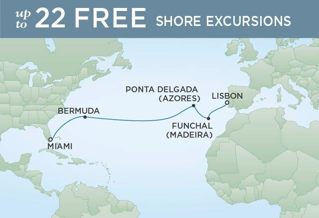 Regent Cruises | 12-Nights from Miami to Lisbon Cruise Iinerary Map