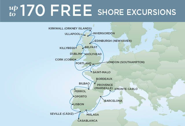 Regent Cruises | 27-Nights from Monte-Carlo to London Cruise Iinerary Map