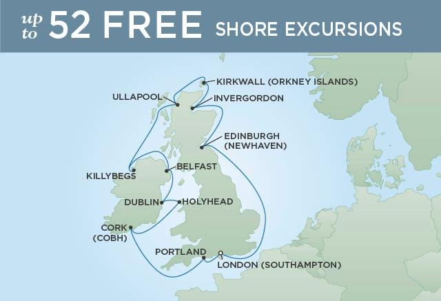 Regent Cruises | 12-Nights Roundtrip from London Cruise Iinerary Map