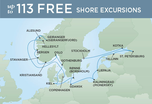 Regent Cruises | 18-Nights from Copenhagen to Stockholm Cruise Iinerary Map