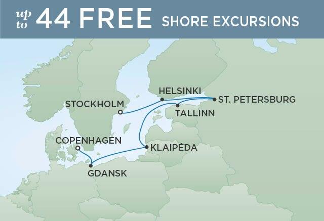 Regent Cruises | 8-Nights from Stockholm to Copenhagen Cruise Iinerary Map