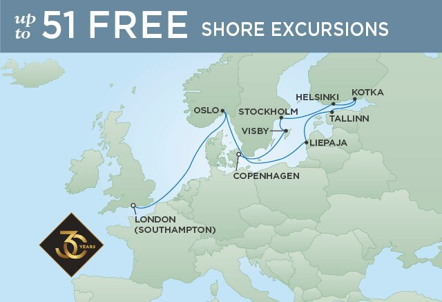 Regent Cruises | 12-Nights from London to Copenhagen Cruise Iinerary Map
