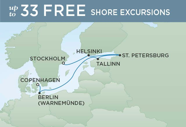 Regent Cruises | 7-Nights from Copenhagen to Stockholm Cruise Iinerary Map