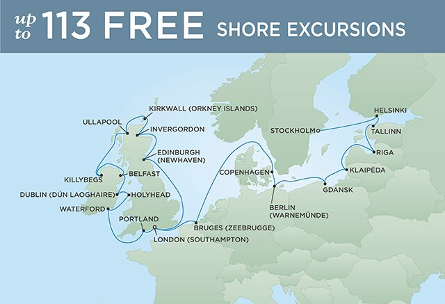 Regent Cruises | 24-Nights from Stockholm to London Cruise Iinerary Map