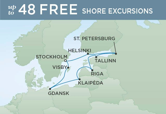 Regent Cruises | 10-Nights Roundtrip from Stockholm Cruise Iinerary Map