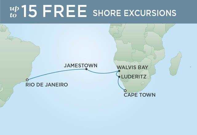 Regent Cruises | 14-Nights from Cape Town to Rio de Janeiro Cruise Iinerary Map
