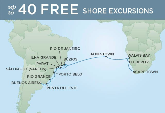 Regent Cruises | 24-Nights from Cape Town to Buenos Aires Cruise Iinerary Map