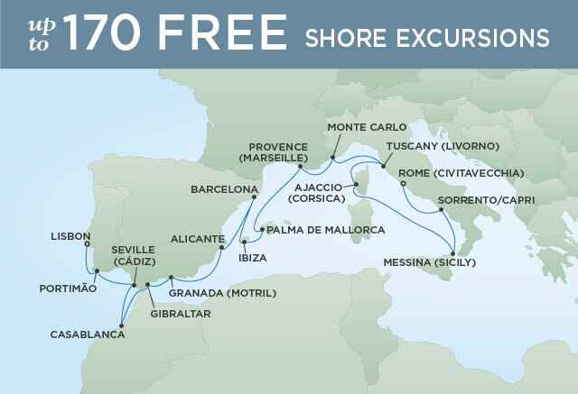 Regent Cruises | 18-Nights from Lisbon to Rome Cruise Iinerary Map