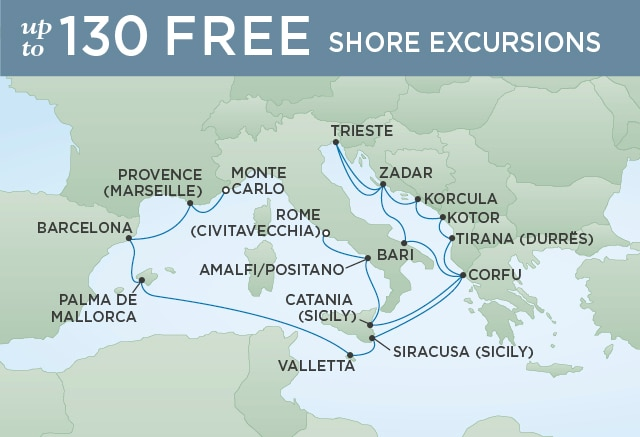 Regent Cruises | 19-Nights from Rome to Monte-Carlo Cruise Iinerary Map