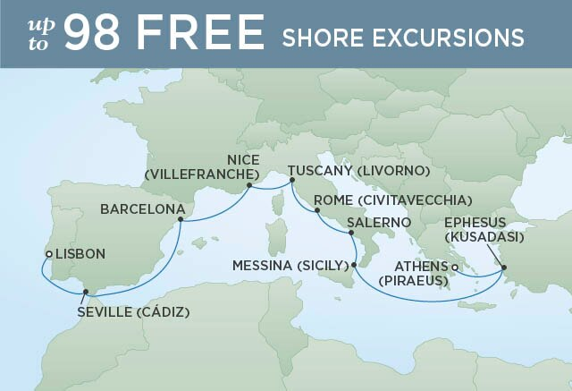 Regent Cruises | 12-Nights from Athens to Lisbon Cruise Iinerary Map