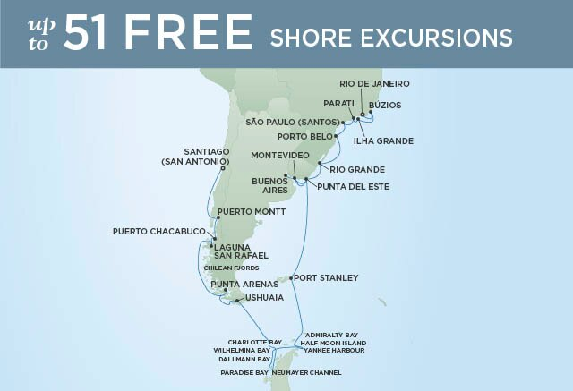 Regent Cruises | 29-Nights from Rio de Janeiro to Santiago Cruise Iinerary Map