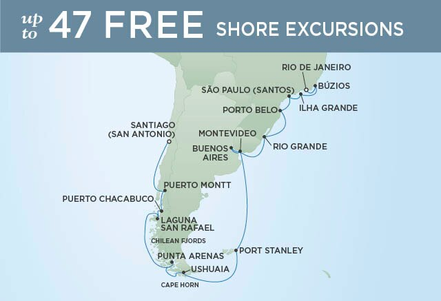 Regent Cruises | 26-Nights from Santiago to Rio de Janeiro Cruise Iinerary Map