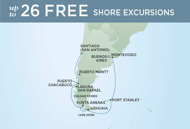Regent Cruises | 16-Nights from Santiago to Buenos Aires Cruise Iinerary Map