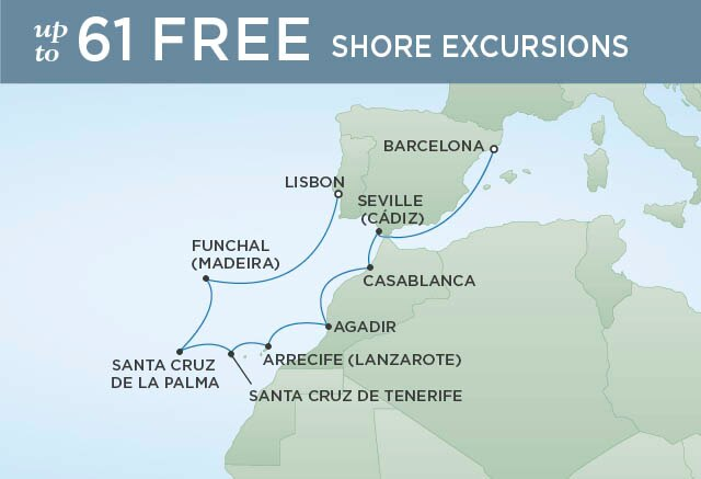 Regent Cruises | 10-Nights from Lisbon to Barcelona Cruise Iinerary Map