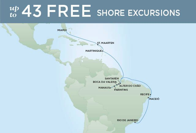 Regent Cruises | 21-Nights from Rio de Janeiro to Miami Cruise Iinerary Map