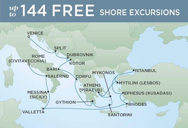 Regent Cruises | 20-Nights from Rome to Venice Cruise Iinerary Map
