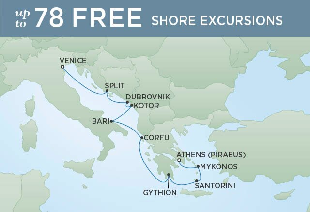 Regent Cruises | 10-Nights from Athens to Venice Cruise Iinerary Map