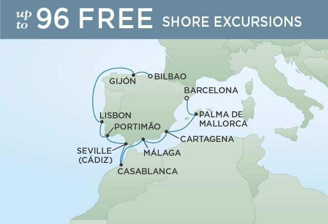 Regent Cruises | 10-Nights from Barcelona to Bilbao Cruise Iinerary Map