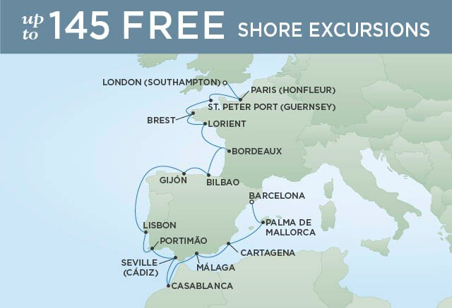 Regent Cruises | 17-Nights from Barcelona to London Cruise Iinerary Map