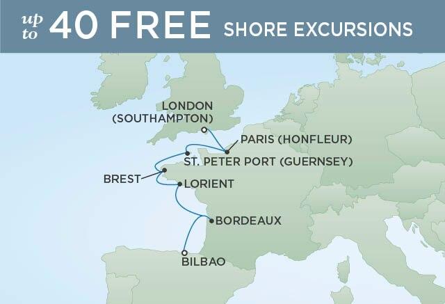 Regent Cruises | 7-Nights from Bilbao to London Cruise Iinerary Map