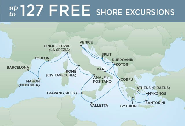 Regent Cruises | 22-Nights from Athens to Barcelona Cruise Iinerary Map