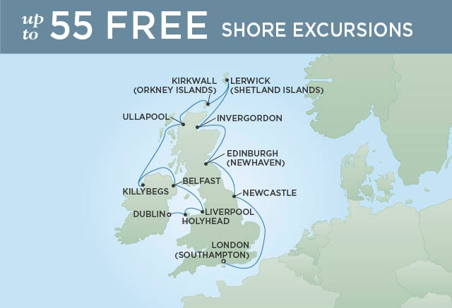 Regent Cruises | 12-Nights from Dublin to London Cruise Iinerary Map