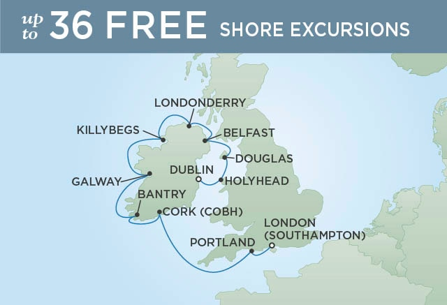Regent Cruises | 10-Nights from London to Dublin Cruise Iinerary Map