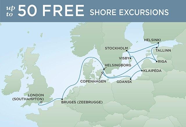 Regent Cruises | 12-Nights from Copenhagen to London Cruise Iinerary Map