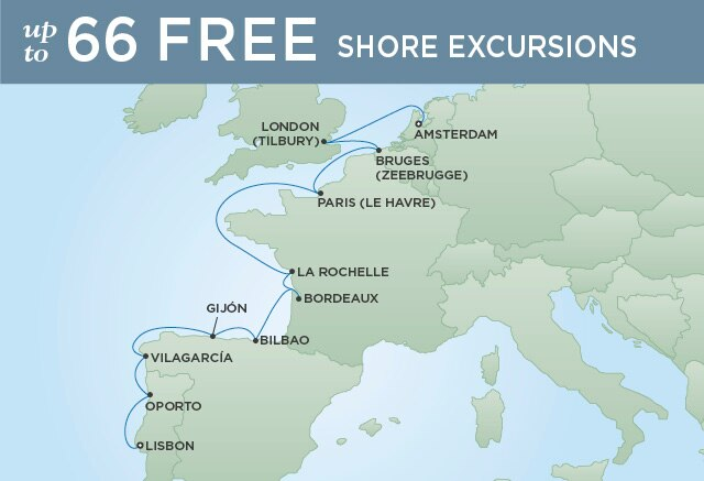Regent Cruises | 12-Nights from Amsterdam to Lisbon Cruise Iinerary Map