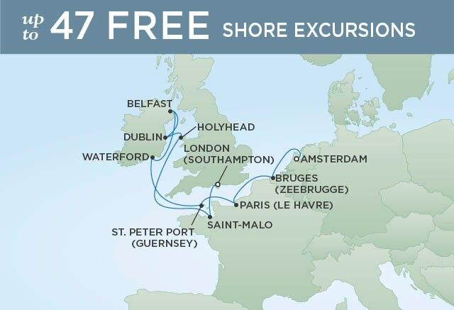 Regent Cruises | 10-Nights from London to Amsterdam Cruise Iinerary Map