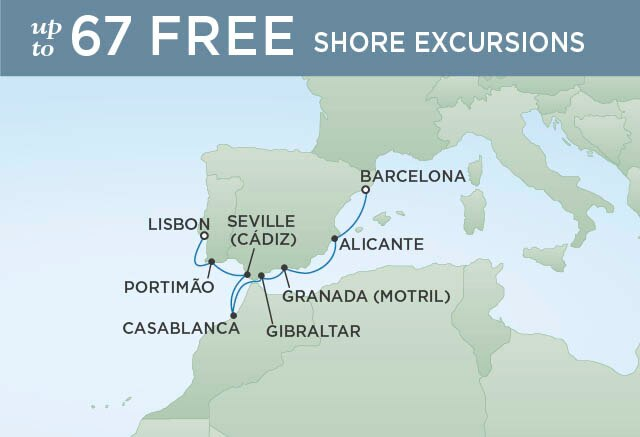 Regent Cruises | 7-Nights from Lisbon to Barcelona Cruise Iinerary Map