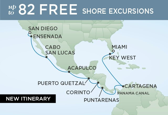 Regent Cruises   16-Nights from Miami to San Diego Cruise Iinerary Map