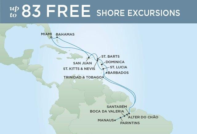 Regent Cruises   24-Nights Roundtrip from Miami Cruise Iinerary Map