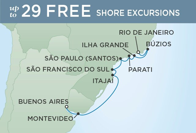 Regent Cruises   12-Nights from Buenos Aires to Rio de Janeiro Cruise Iinerary Map