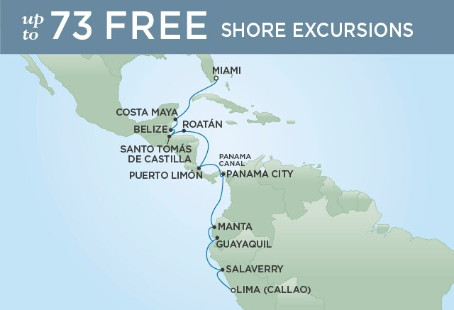 Regent Cruises   16-Nights from Miami to Lima Cruise Iinerary Map