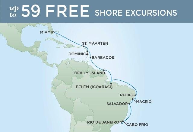 Regent Cruises   18-Nights from Rio de Janeiro to Miami Cruise Iinerary Map