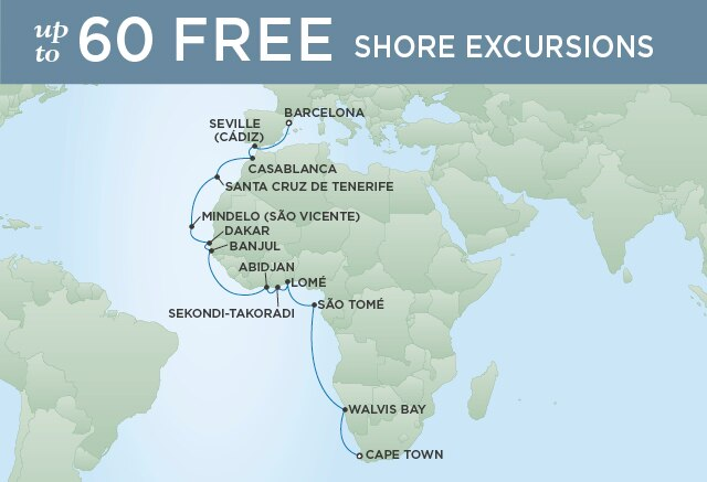 Regent Cruises   25-Nights from Barcelona to Cape Town Cruise Iinerary Map