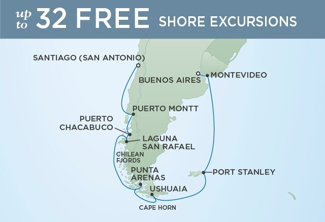 Regent Cruises   19-Nights from Santiago to Buenos Aires Cruise Iinerary Map