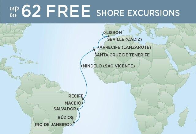 Regent Cruises | 18-Nights from Rio de Janeiro to Lisbon Cruise Iinerary Map