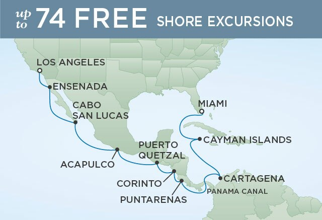 Regent Cruises | 16-Nights from Los Angeles to Miami Cruise Iinerary Map