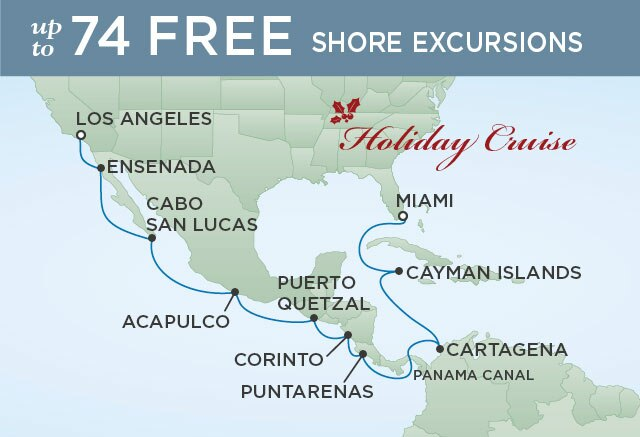 Regent Cruises   16-Nights from Miami to Los Angeles Cruise Iinerary Map